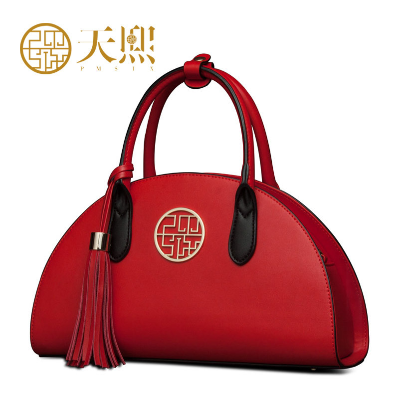 ФОТО Pmsix 2017 New Women Bags Luxury Women's Cow split Leather Cowskin Handbag Banquet Bags Red/Black P120016