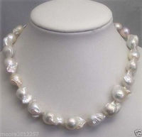 100% Selling Picture full REAL HUGE 18 28mm SOUTH SEA WHITE BAROQUE PEARL NECKLACE 18