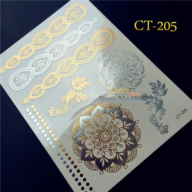 1PC Women Henna Arm Sleeve Tattoo Indian Chain Tatoo Gold Silver Sun Flower Metal Temporary Tattoo Sticker Fake Bracelet HCT-205