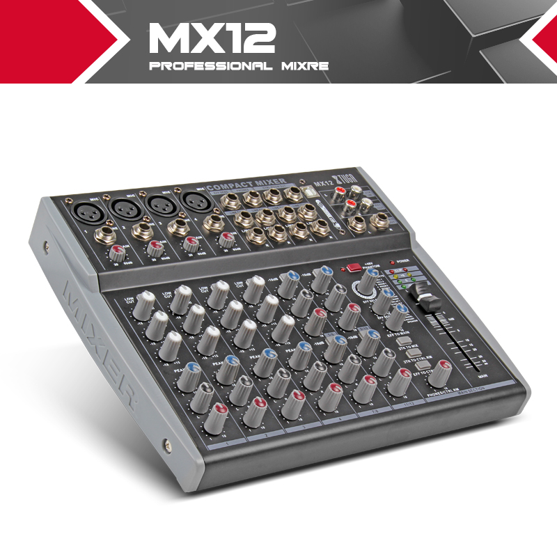 12 Channels 3 Band EQ Audio Music Mixer Mixing Console with USB XLR LINE Input 48V Phantom Power for Recording DJ Stage MX12 vadiboer f8 professional 6 channels mixer console with bluetooth effect 48v phantom power supply mini stage audio console equipm