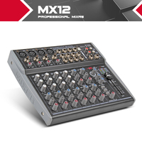 12 Channels 3 Band EQ Audio Music Mixer Mixing Console with USB XLR LINE Input 48V Phantom Power for Recording DJ Stage MX12
