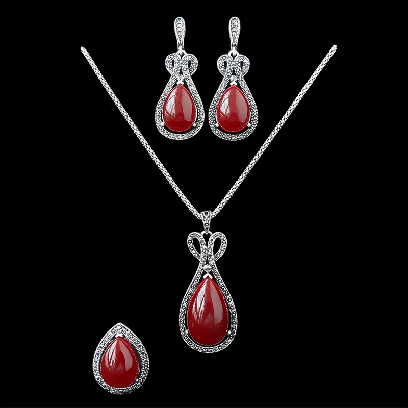 2016 New Design Vintage Jewellery Sets Red Resin And Black Crystal Antique Silver Plated Fashion Female