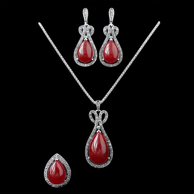 2016 Novo Design de Cristal Conjuntos de Jóias de Resina Vermelha E Preta Do Vintage Antigo Banhado A Prata Conjunto de Jóias de Moda Feminina