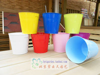 6pcs Lot Mixed 6 Colors Metal Planter Pot Garden Iron Pot Flower Hanging Bucket Vintage Wall