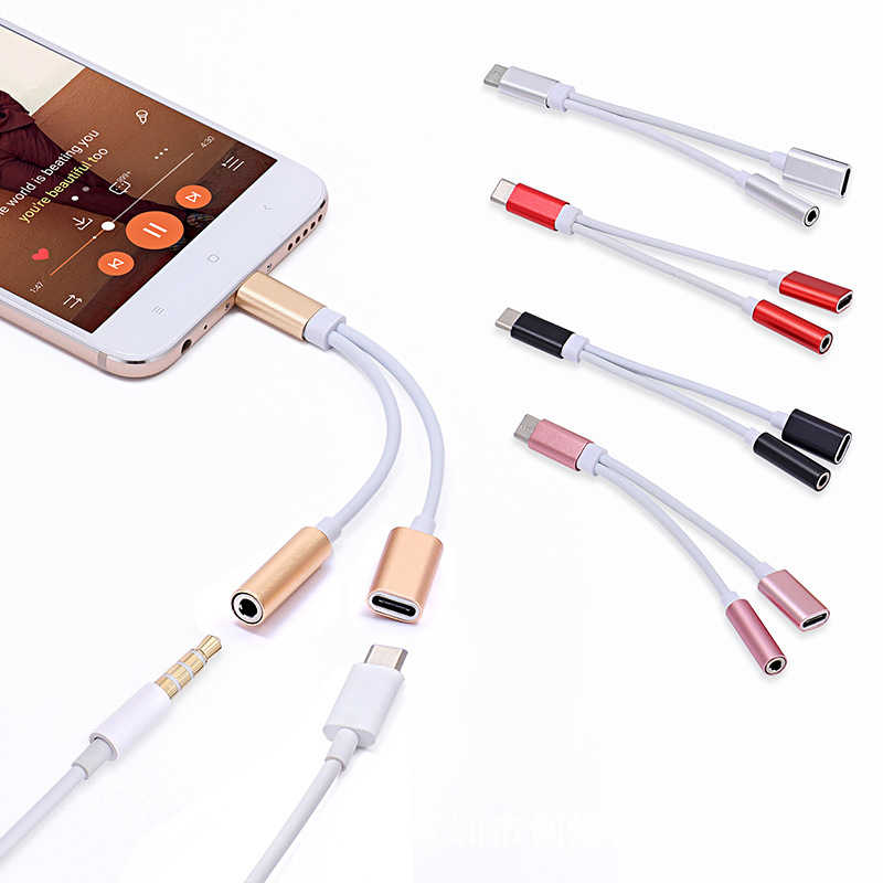 2 في 1 Type C إلى 3.5 مللي متر شاحن سماعة الصوت جاك USB C كابل المحمولة نوع-C إلى 3.5 مللي متر موصل محول للهاتف المحمول