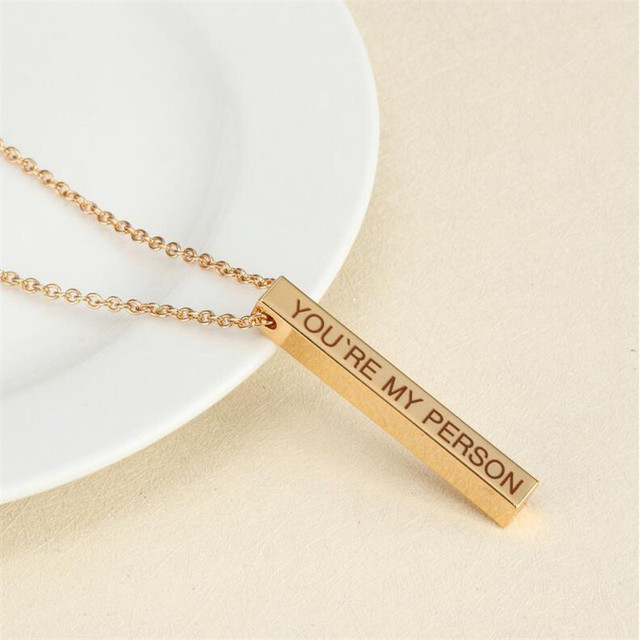 Four Sides Engraving Personalized Square Bar Custom Name Necklace Stainless Steel Pendant