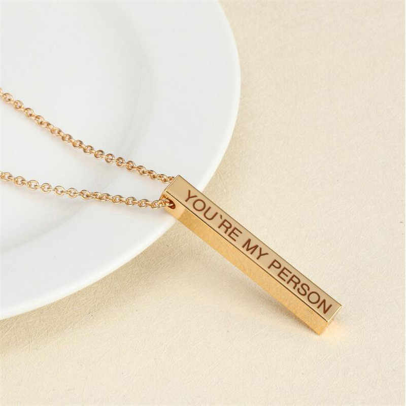 Four Sides Engraving Personalized Square Bar Custom Name Necklace Stainless Steel Pendant Necklace Women/Men Gift MNE180014