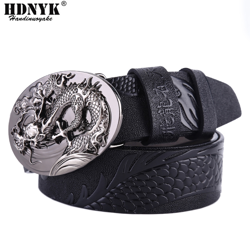 Fashion Men Casual Genuine Leather Dragon Design Automatic Buckle Black Belt