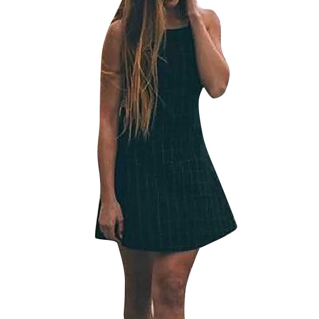 ฟรีนกกระจอกเทศผู้หญิงแฟชั่นแขนกุดลายสก๊อต Backless Mini รูปสุภาพสตรีไม่มีที่สิ้นสุด Casual เซ็กซี่เลดี้หญิง 720
