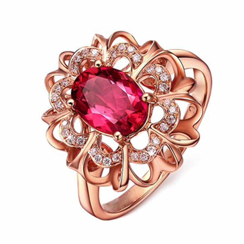 Big Red Stone Rose Gold Color Rings Crystal  Imitation  Female Wedding Jewelry For Women
