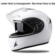 Шлемы для взрослых снегоход шлем мужские женские полный уход за кожей лица двойной объектив M, L, XL с удалены шейный платок белый цвет мото