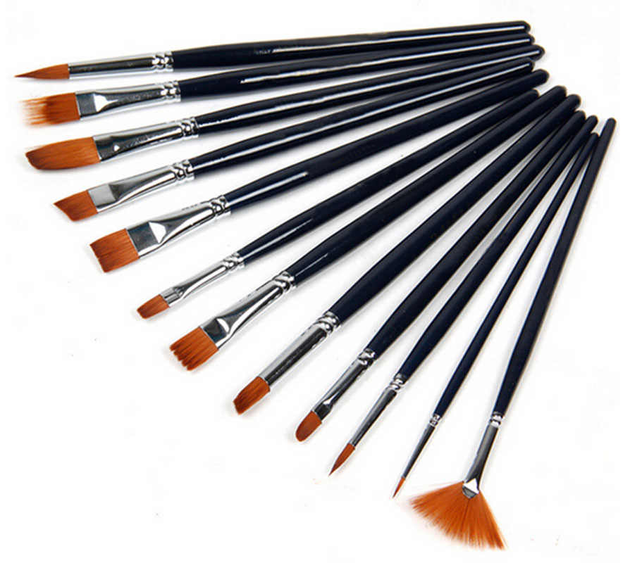 New 12pcs/set Artist Paint Brushes Set Acrylic Oil Water colour Painting Craft Art Model Free Shipping Hottest