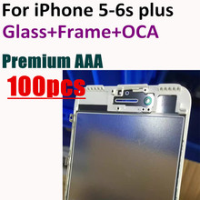 100pcs close original Front Outer Glass lens with Frame Bezel + OCA optical clear adhesive for iPhone 5 5s 6 6G 6s plus 7 7plus