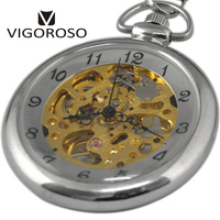 Unique Mechanical Pocket Watch Transparent Open Face Silver Steampunk Men S Pocket Watch Chain Gift For
