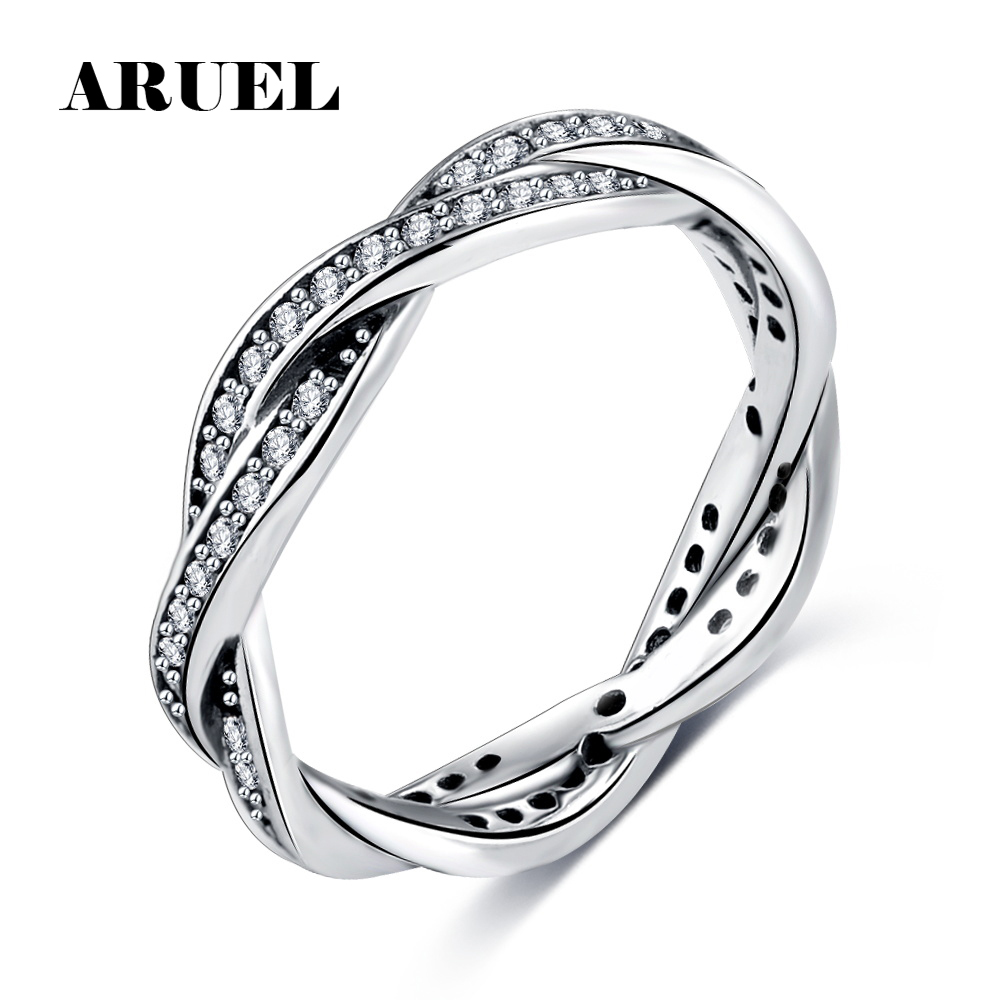 ARUEL 8 STYLE BRAIDED PAVE ,LEAVES My Princess Queen Crown SILVER RING Twist Of Fate Stackable Jewelry Ring for Women Party