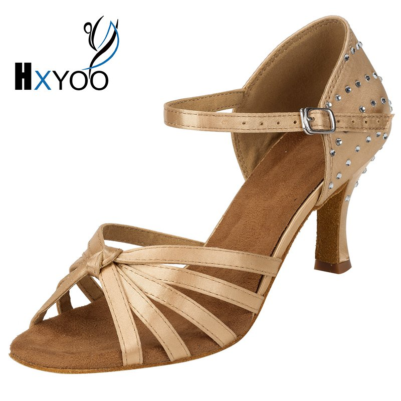 ФОТО HXYOO 2017 New Satin Rhinestone Ballroom Dance Shoes Women Salsa Shoes Latin Tango Black Black Champagne Brown Soft Sole WK031