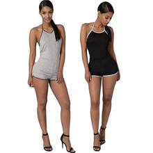 Women Fashion Summer Sexy Backless Halter Shorts Bodysuit Rompers Jumpsuit