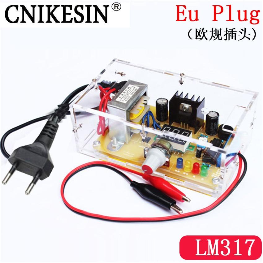 CNKESIN DIY Kit EU plug LM317 1.25V-12.5V Adjustable Regulated Voltage Step-down Power Supply Suite Module 220V