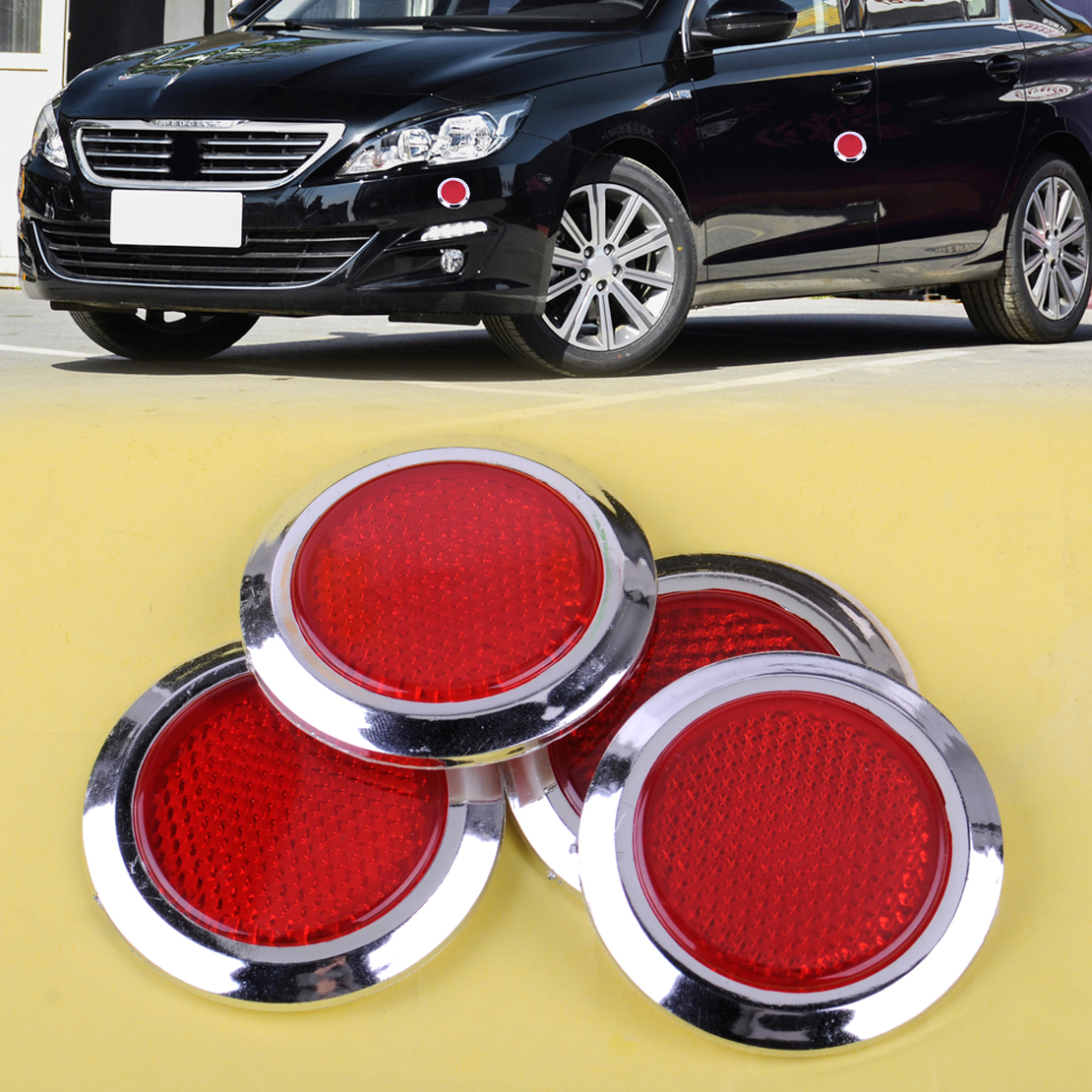 DWCX 4pcs Plastic Red Chrome Plated Round Car Reflective Sticker Self Adhesive Reflector Fit For VW Audi BMW Toyota Nissan arrow pattern car body reflective warming mark sticker golden red silver 10 pcs
