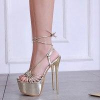 Gold Platform Sandals Women 2019 New Summer Shoes Heel 17 CM Sexy Extreme High Heel Women Sandals Heel