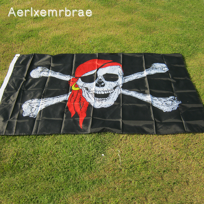 Aerlxemrbrae Flags Hanging-Decoration Skull Holloween Cross-Crossbones Jolly Roger Pirate title=