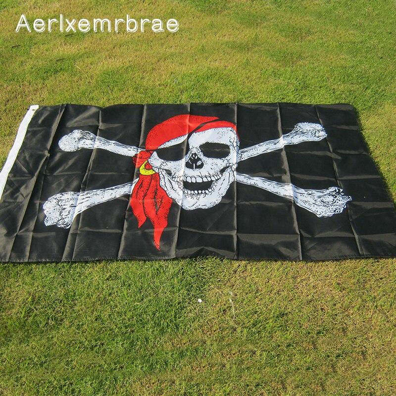 aerlxemrbrae flag Huge Skull and Cross Crossbones Jolly Roger Pirate Flags Holloween KTV hanging Decoration(China)