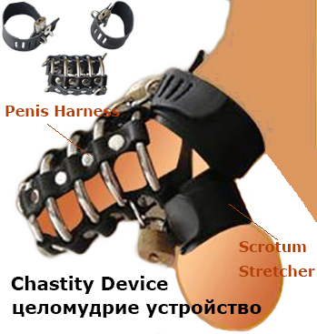 Leather Cock Cage Penis Harness Ball Scrotum Stretcher Restraint Bondage Lock Male Chastity Device Adult Game SM Sex Toy For Men