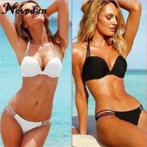 71e7df5eb2 Bikini Sexy Super Push Up maillots de bain Bikini ensemble femmes maillot  de bain bande solide noir blanc maillot de bain dans Bikinis Ensemble de  Sports et ...