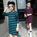Vestidos de Algodão Completo Manga Longa crianças T-Shirts Para Meninas Listradas Meninas t-shirt 2016 Outono Crianças Tops 4 6 8 10 12 Anos Vestidos