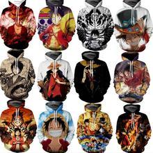 """Модные 3D свитер с капюшоном с рисунком из аниме Одна деталь с принтом """"Манки Д лаффи, с капюшоном пуловеры, толстовки, топы больших размеров уличная 3xl Прямая"""