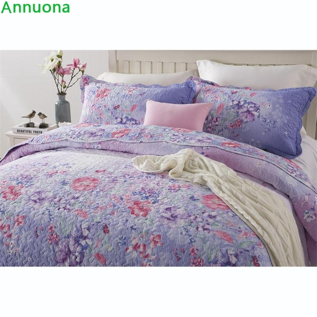 Annuona 100% Cotton Purple Satin Quilt Bed Linens Set 3pcs Bed Sheets  Pillowcases Pillow Covers