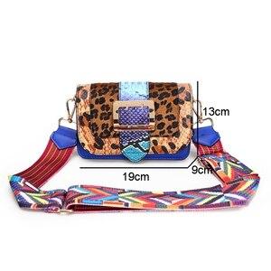 Image 5 - FUNMARDI moda yılan Crossbody çanta kadın omuzdan askili çanta lüks leopar kadın Flap çanta panelli PU deri çanta bayan WLHB3004