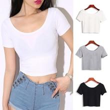 Женская футболка с коротким рукавом и круглым вырезом, сексуальные короткие топы, летние женские базовые простые Стрейчевые одноцветные футболки, черные, белые, серые