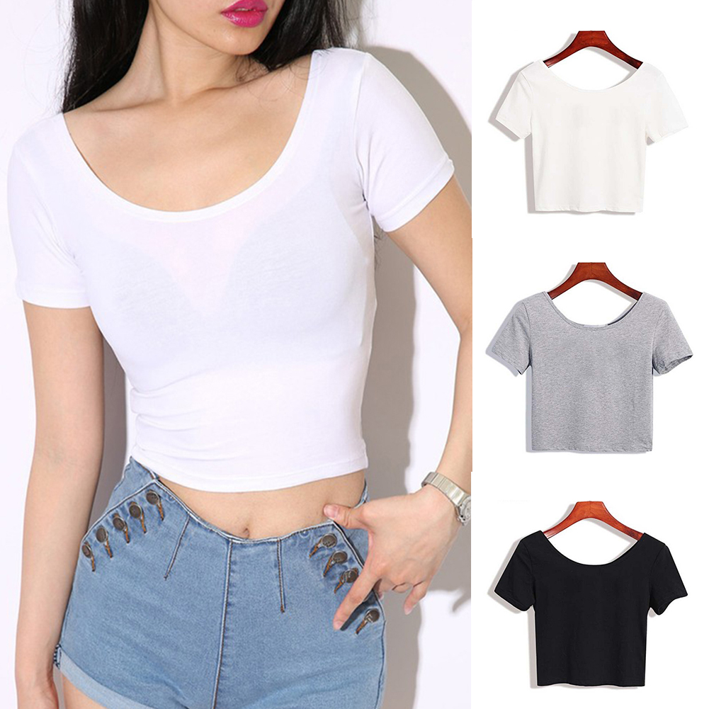 Ladies Short Sleeve O Neck T-shirt Sexy Crop Tops 2019 Summer Women Basic Simple Stretch Solid Color Tee Shirts Black White Gray