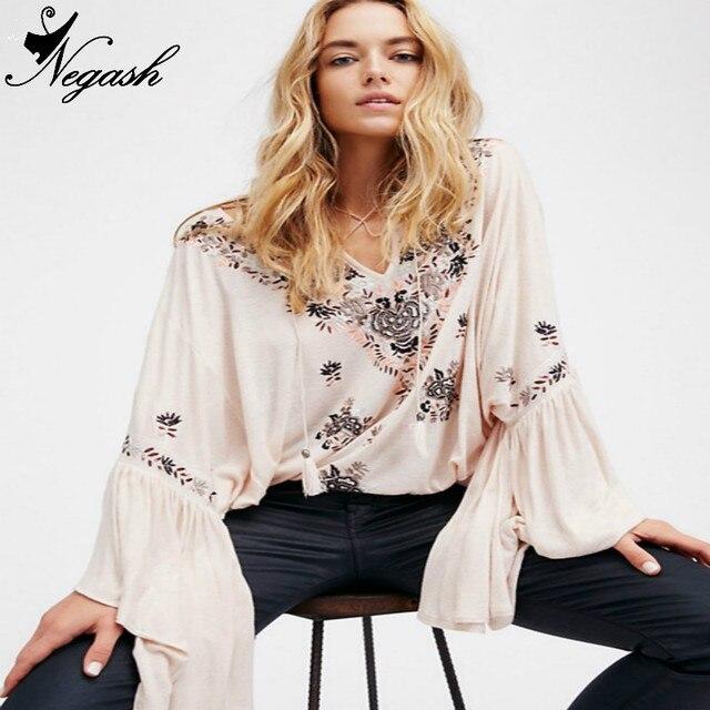 36663367453a82 Beige brand Tunic Boho blusa 2017 New Fashion Ladies  Elegant vintage  Embroidery Cotton blouses Autumn