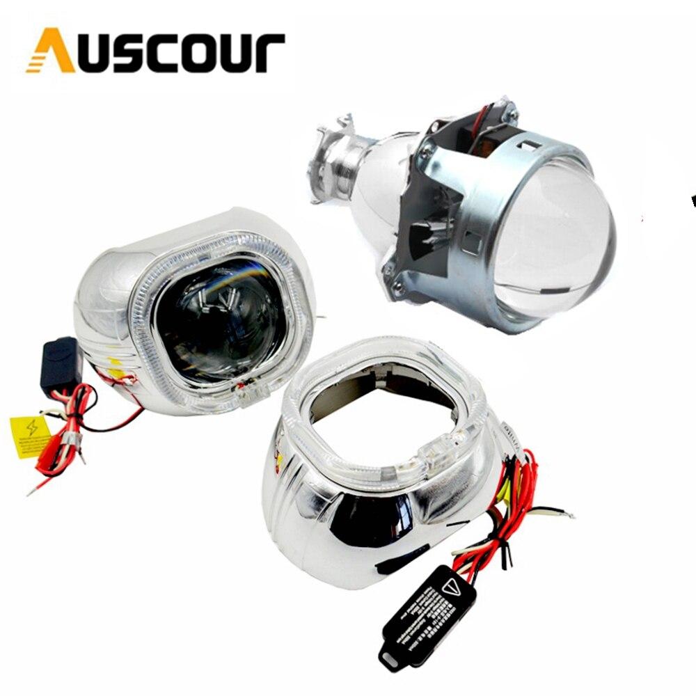2 pcs 3.0 pouces Bi-xénon hid objectif Du Projecteur h1 h4 h7 avec full metal xenon hid kit ampoule lampe de voiture assemblage de rénovation headligt
