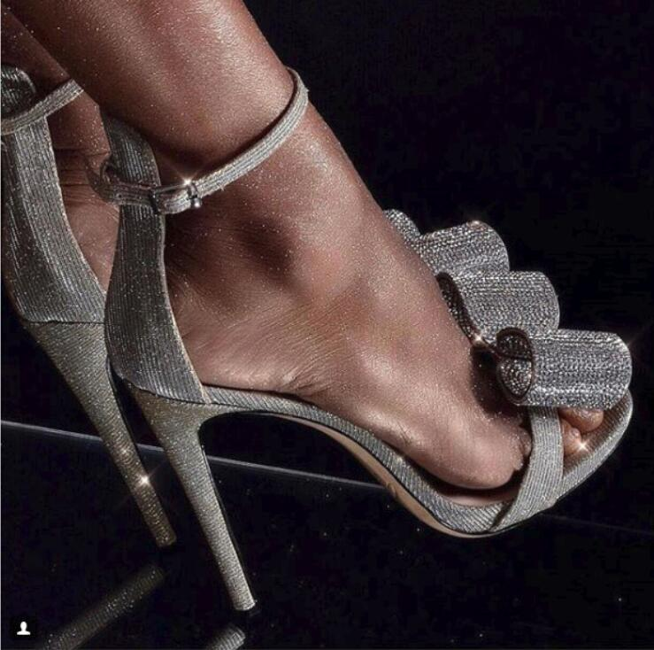 Trendy Silver Crystal Studded Bowtie Stiletto Heel Wedding Shoes Bride Covering Open Toe Dress Sandals Gladiator Sandals Women - 4