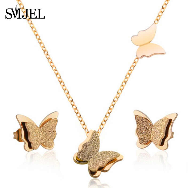 SMJEL Matte Butterfly Necklaces Rose Gold Stainless Steel Jewelry Set Cute Animal Earings for Women Best Friend Gift bijoux