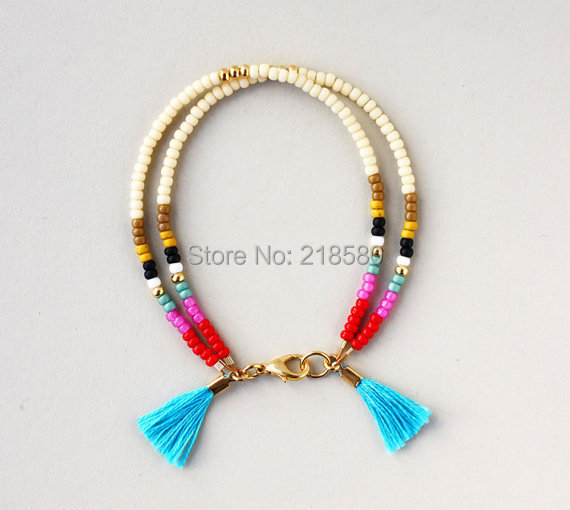 B1506132306 Boho Jewelry Bead Trible Friendship Bracelet Color Block Blue Tels Bracelets