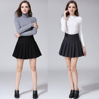 Mini Skirt 2016 Spring Autumn Preppy Style Women Clothing High Waist Pleated Vintage Casual Knitted Mini