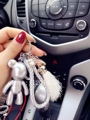 Silver POPOBE Bear car Key Chain Tassels Gloomy Bear keychains leather landyard Bag Charm men Key Ring birthday gift handmade
