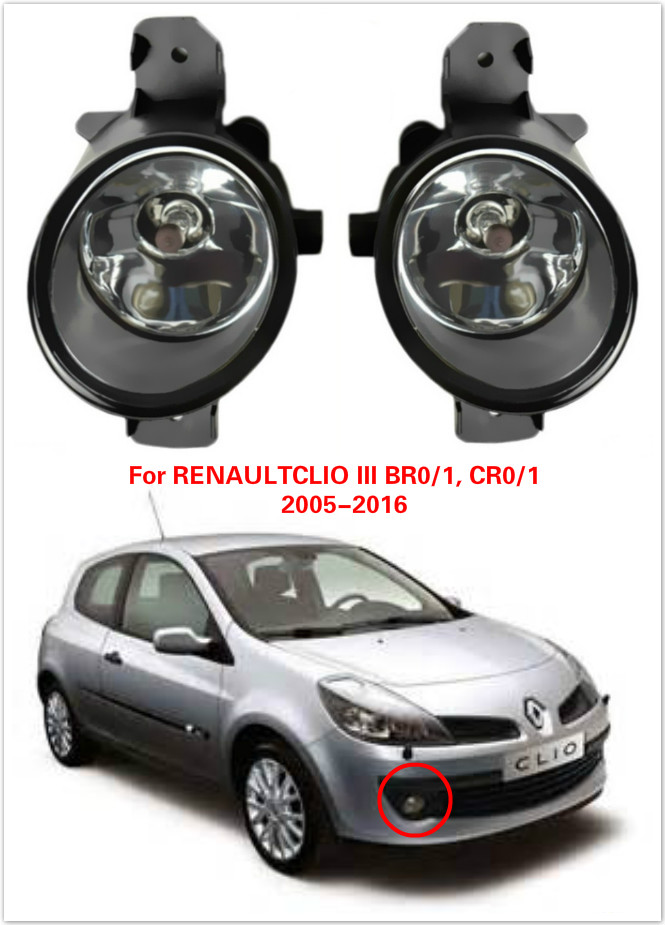2016 New For RENAULT CLIO III BR0/1, CR0/1 2005-2016 Car Styling Halogen High Lighting The Front Bumper Fog Lamps Car-covers