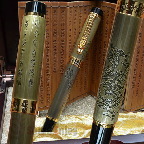 JINHAO LEGEND OF DRAGON MEDIUM NIB FOUNTAIN PEN ORIGINAL BOX AND BAMBOO SLIP BRASS italic nib art fountain pen arabic calligraphy black pen line width 1 1mm to 3 0mm