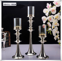20 Single Silver Tea Light Holder With Glass Lampshade Candlestick Holder Home Decoration Restaurant Supplies