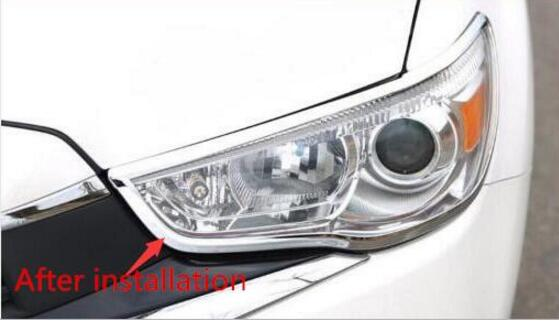 For Mitsubishi ASX Outlander Sport RVR 2013 2015 2016 2017 Chrome Front Head Light Lamp Cover Trim Garnish Surround Bezel in Chromium Styling from Automobiles Motorcycles