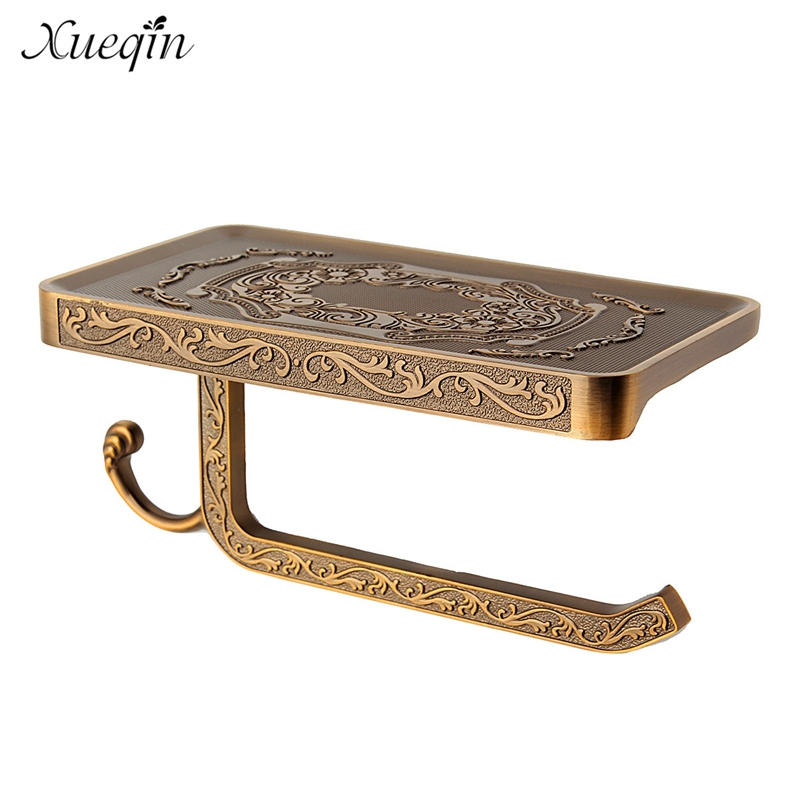 Xueqin Wall Mounted Phone Tissue Paper Book Holder Antique Carving Bathroom Toilet Roll Paper Holder Rack Shelf bathroom accessory antique brass wall mounted copper toilet paper roll holder free shipping aba037