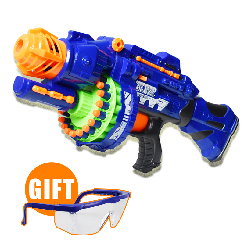 Guns For Boys Christmas Toys : Blue machine gun continuous launch airsoft air guns