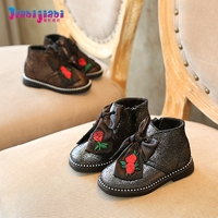 0-7 T ילדי סתיו חורף מגפי אופנועני עור אמיתיים ורדים קשת גדולה בנות נעלי תינוקות נעלי פעוטות ילדים אופנה מגפי רכיבה