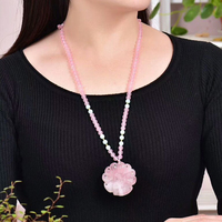 Pink Natural Crystal Necklace Hand Carved Nine Tail Fox Pendant Beads Sweater Chain Necklace Lucky for Women Help Wealth Jewelry