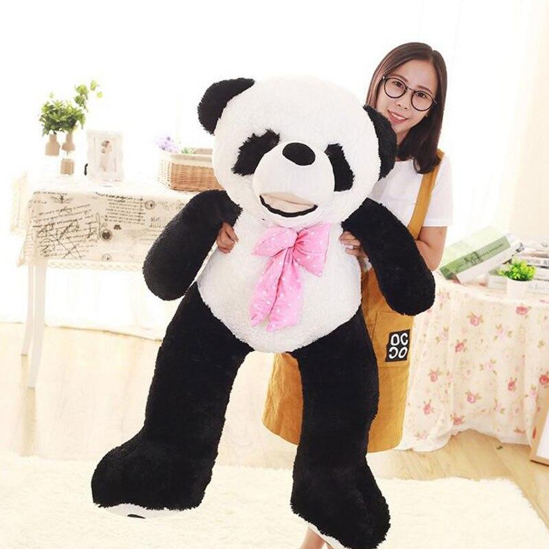 Plush Baby Doll 130CM Panda Bear Doll Gentle Touch Kawaii Bear Stuffed Plush Kids Gift Panda Bear Toys Bear Doll Plush Toy 1pc 12cm kawaii lover couple valentine s day gift novelty mascot doll toy plush papa bear panda pendant for mobile phone charm